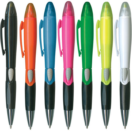 Plastic Ballpoint Pen With Highlighter - Group Image