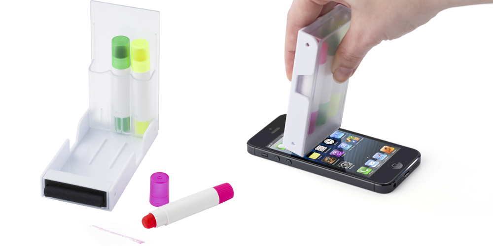 Gel Marker, Screen Cleaner and Mobile Phone Stand
